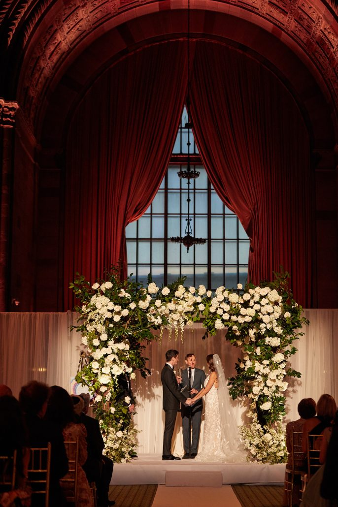 Laura and Charlie Wedding - Bride and Groom Chuppah - Cipriani - Christian Oth Studio