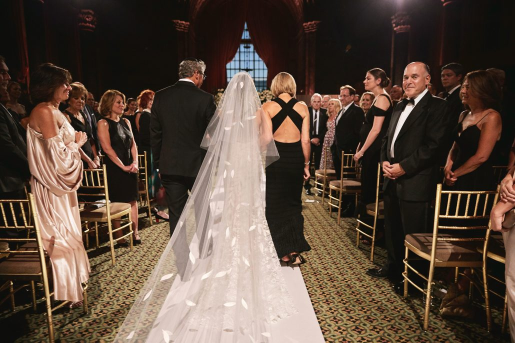 Laura and Charlie Wedding - Bride Father and Mother Walking Down the Aisle - Cipriani - Christian Oth Studio