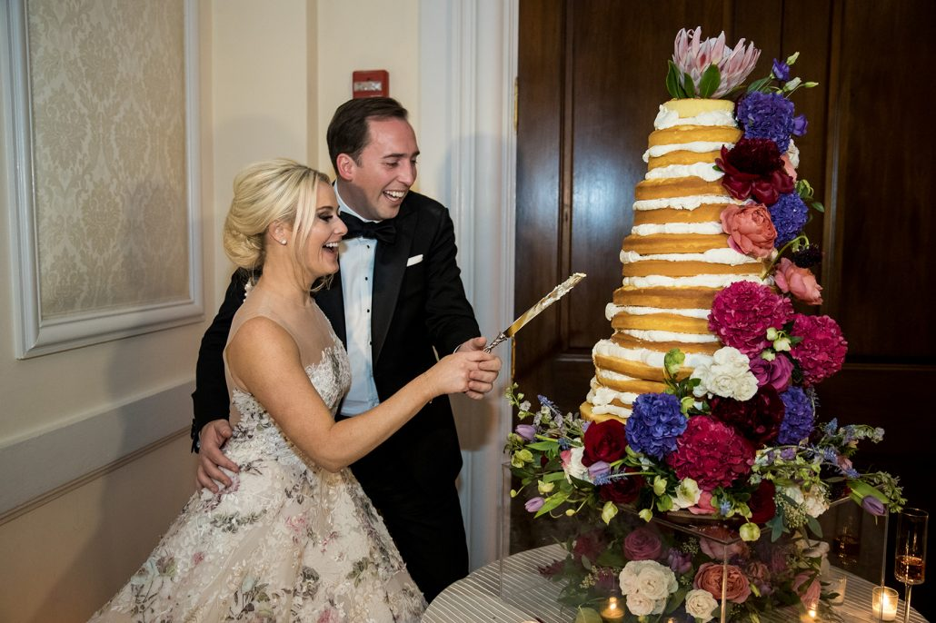 Caroline & Jonathan Wedding - Wedding Cake Cutting - Oheka Castle - by Craig Paulson