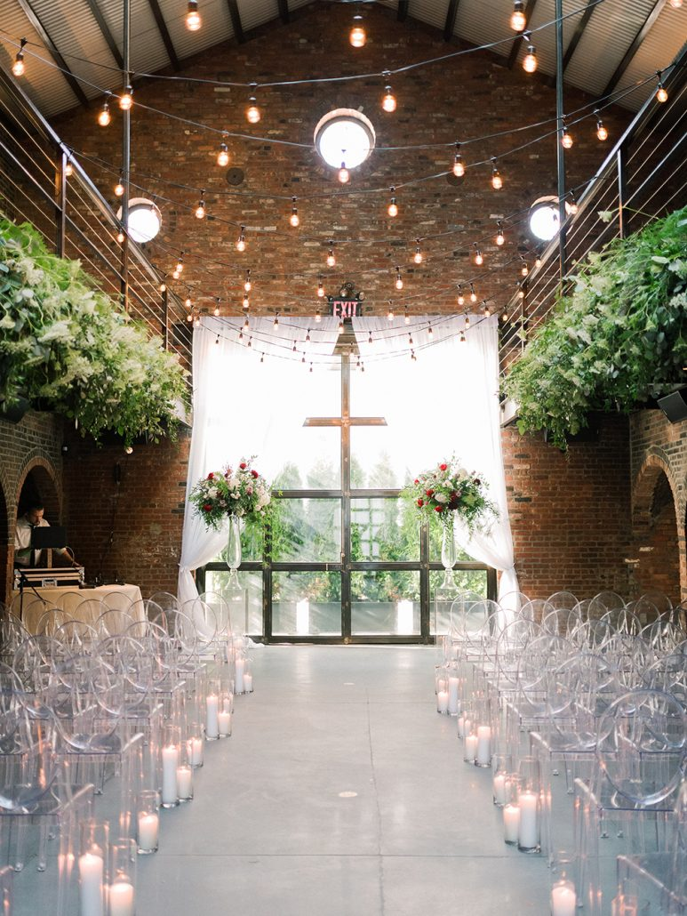Ana and Jack Wedding - Wedding Aisle Candles Ceremony and Balcony Arrangement - The Foundry - Asher Garder Photography