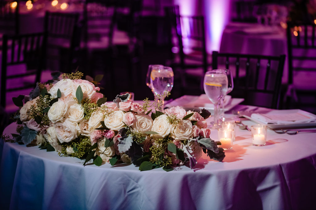 Rebecca and Nelson Wedding - Sweetheart Table Bouquet - Tribeca Rooftop - Jason Thomas Crocker Photography