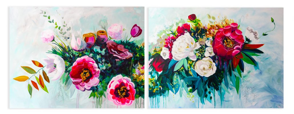 Floral Painting Diptych by Megan Carty - courtesy of artist