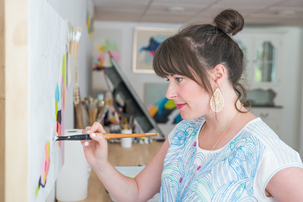 Artist Megan Carty Working in Studio - courtesy of artist