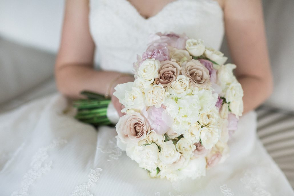 Cari and AnShih Wedding - Peony Garden Rose Quicksand Spray Rose Bridal Bouquet - Lotte New York Palace NYC - by Kelly Kollar Photography