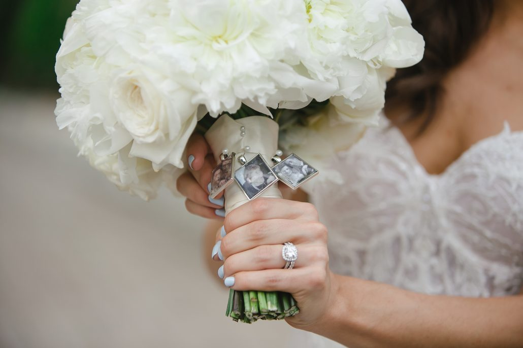 Nicole and George Wedding - Peony Ranuculus Garden Rose Sweet Pea Bridal Bouquet with Locket Photos - Hilton Woodcliff Lake NJ - by I Heart New York Photography