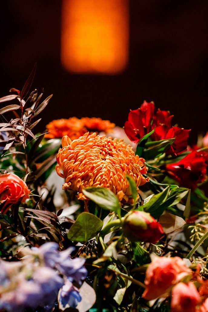 Stefanie and Mike Wedding - Flower Arrangement Detail - Gotham Hall - Emma Cleary Photography