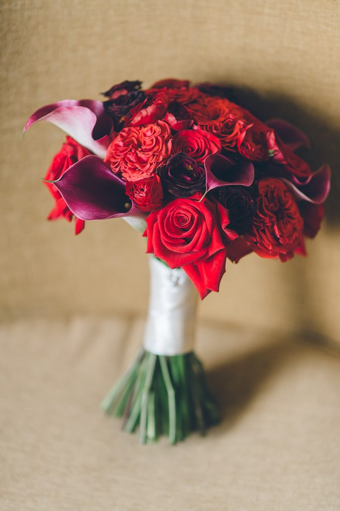jamie and john wedding - red rose calla lily bouquet - liberty warehouse - ben lau photography