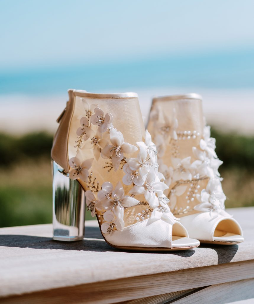 Jamie and Jasper Wedding - Brides Shoes - Gurneys Montauk - Pat Furey Photography