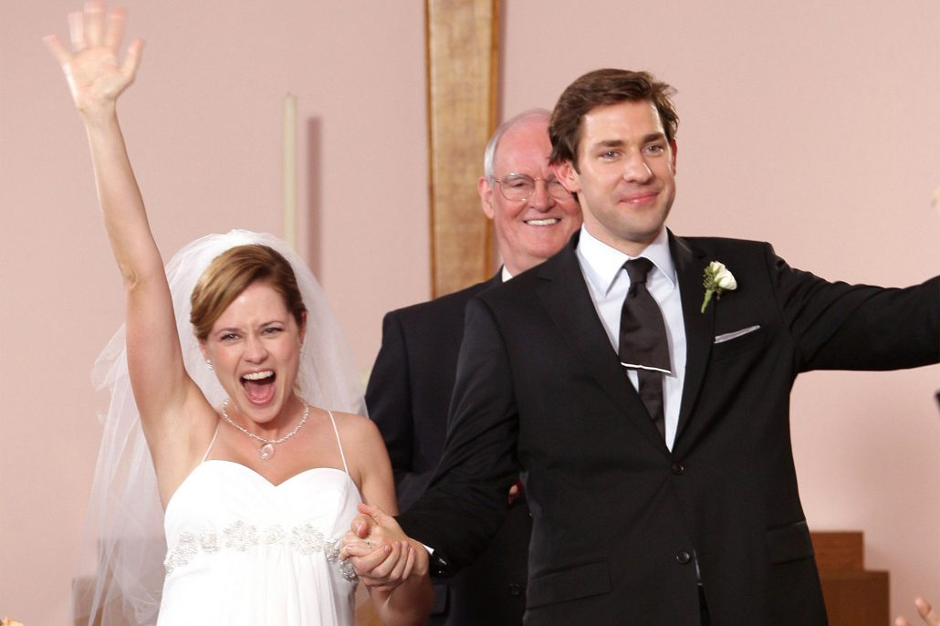 Jim and Pam The Office Wedding - via Entertainment Weekly