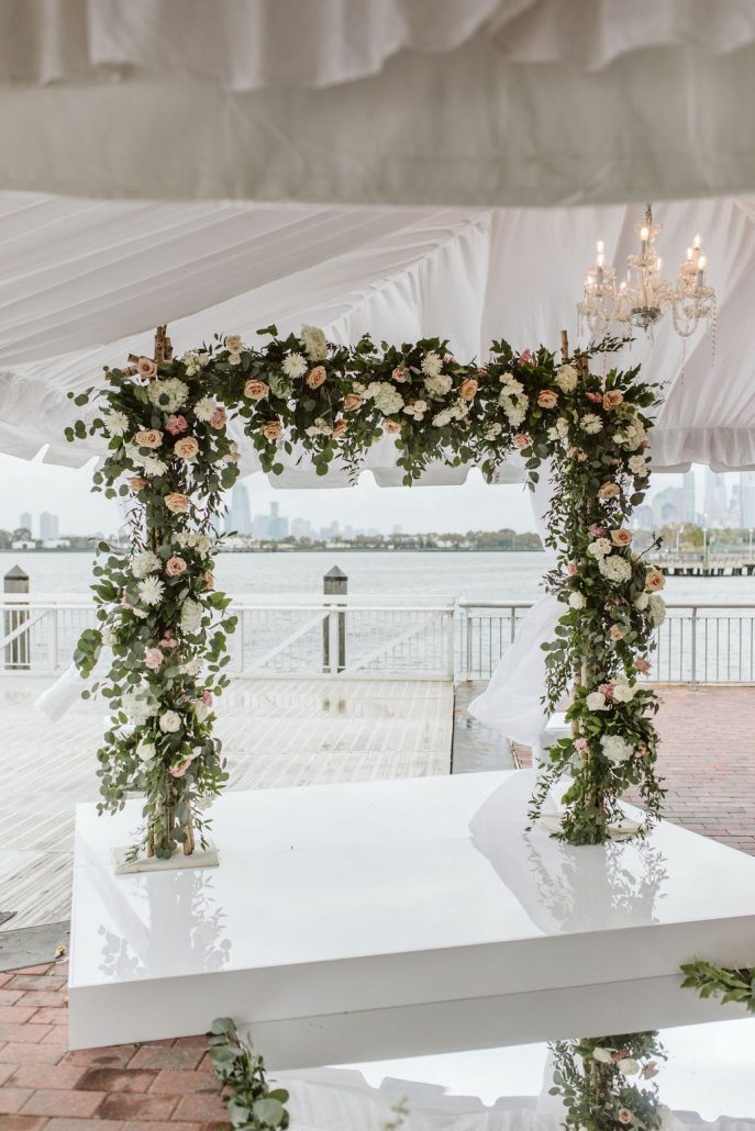 Nailah and Hasan Wedding - Flower Arch - Liberty Warehouse - Jenna Cavanaugh Photography