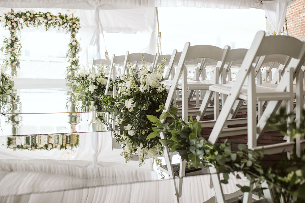 Nailah and Hasan Wedding - Aisle Arrangements - Liberty Warehouse - Jenna Cavanaugh Photography