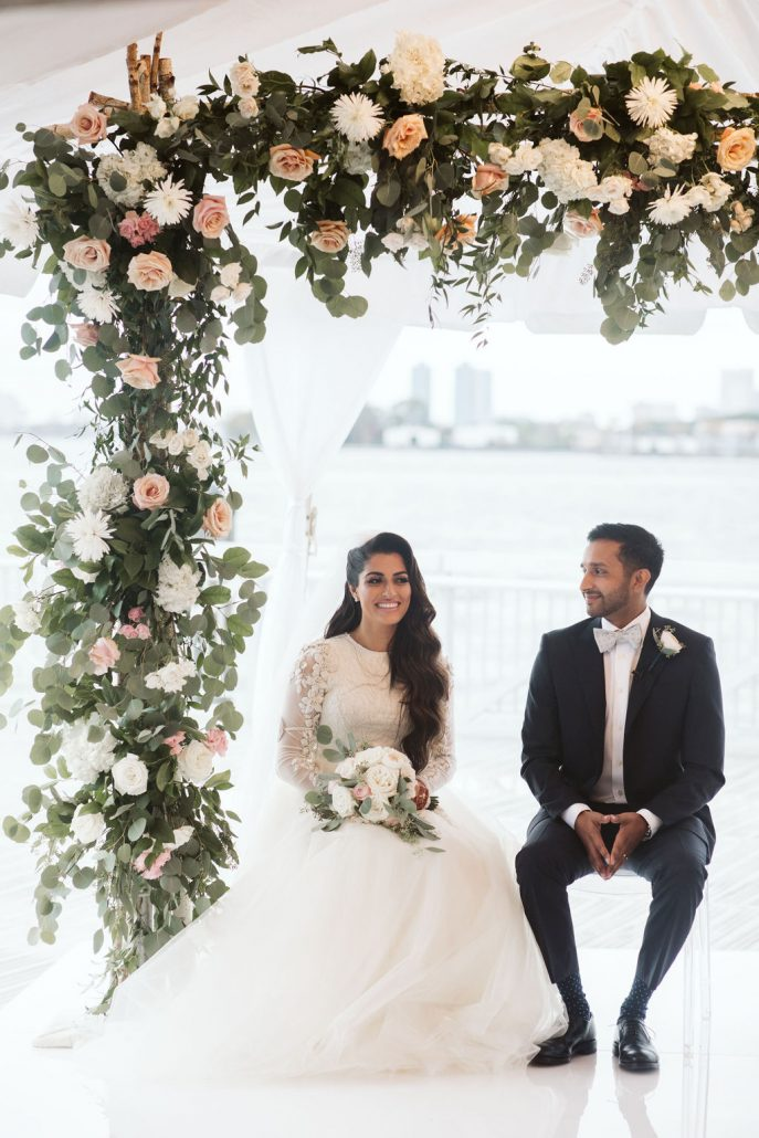 Nailah and Hasan Wedding - Bride and Groom Flower Arch Bouquet - Liberty Warehouse - Jenna Cavanaugh Photography