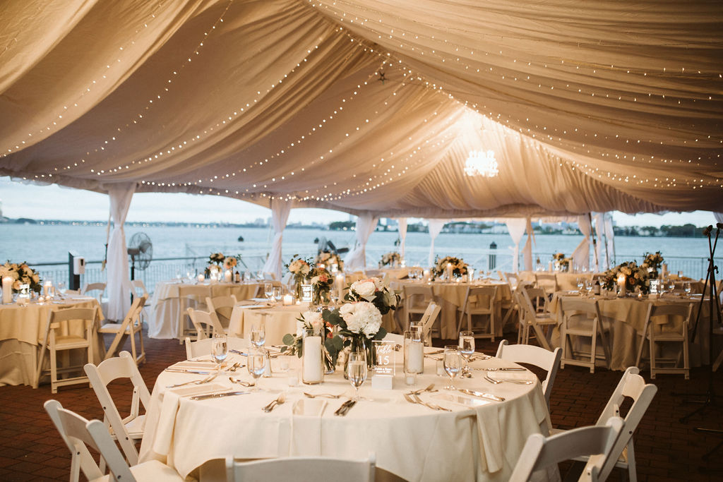 Nailah and Hasan Wedding - Reception Tent low centerpiece - Liberty Warehouse - Jenna Cavanaugh Photography