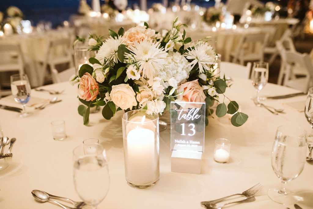 Nailah and Hasan Wedding - Low Centerpiece - Liberty Warehouse - Jenna Cavanaugh Photography