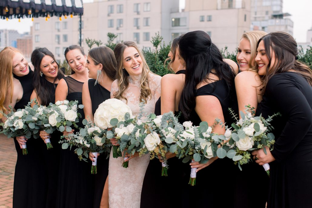 Kelsey and Nick Wedding - Bride Bridesmaids Bouquet - Bowery Hotel - Anne Lee Photography
