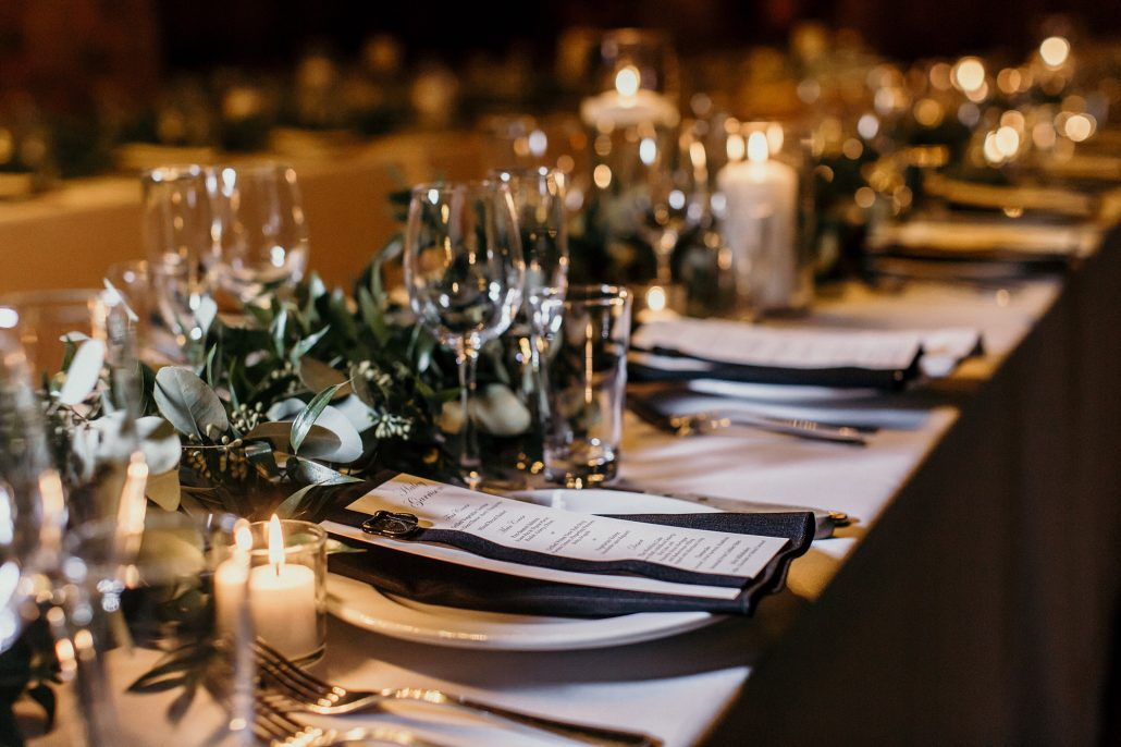 Kelsey and Nick Wedding Tablescape Greenery Garland - Bowery Hotel - Anne Lee Photography