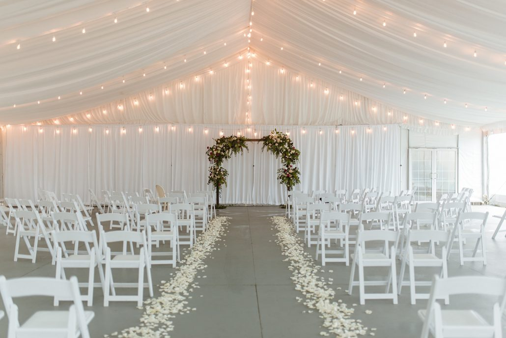 Cara and Vince Wedding - Flower Arch Aisle Decor - The Estate at Creekside - Laura Huertas Photography