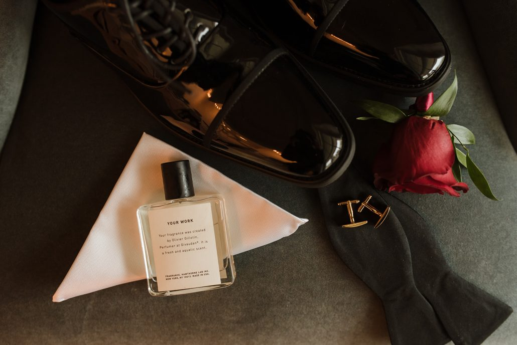 Cara and Vince Wedding - Grooms Boutonniere Shoes Cologne - Laura Huertas Photography