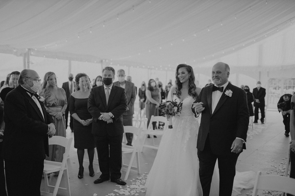 Cara and Vince Wedding - Bride and Father Walking Down the Aisle - Laura Huertas Photography