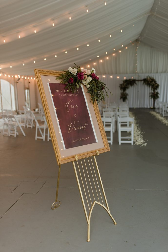 Cara and Vince Wedding - Welcome Sign - Laura Huertas Photography