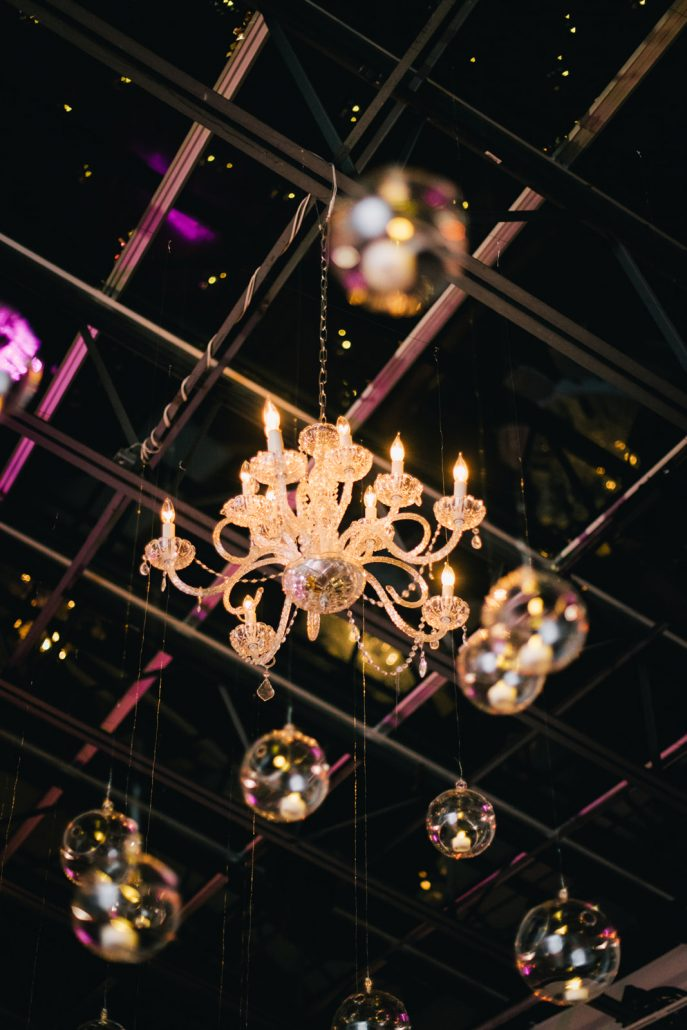 Connie and Alek Wedding - Reception Atmosphere Chandelier Dance Floor Installation - Tribeca Rooftop - Joseph Lin Photography