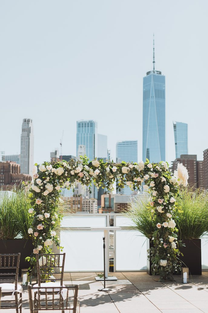 Elaine and LiRen Wedding - Flower Arch - Tribeca Rooftop - Jaylim Studio