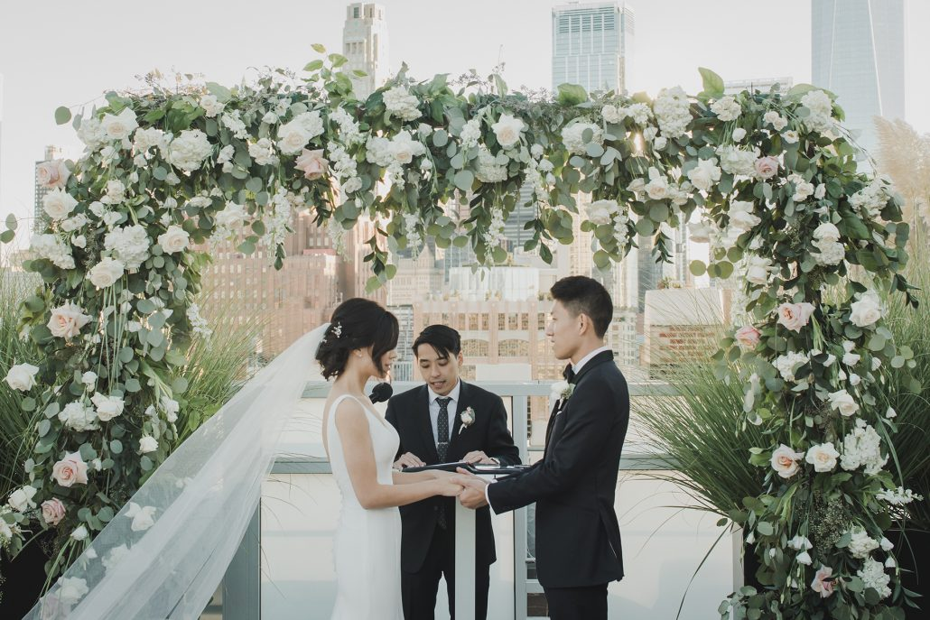 Elaine and LiRen Wedding - Bride and Groom Flower Arch - Tribeca Rooftop - Jaylim Studio