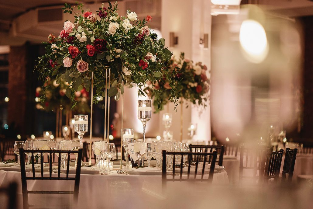 Christine and Matt Wedding - High Centerpiece Tablescape - Tribeca Rooftop - Andy Gaines Photography