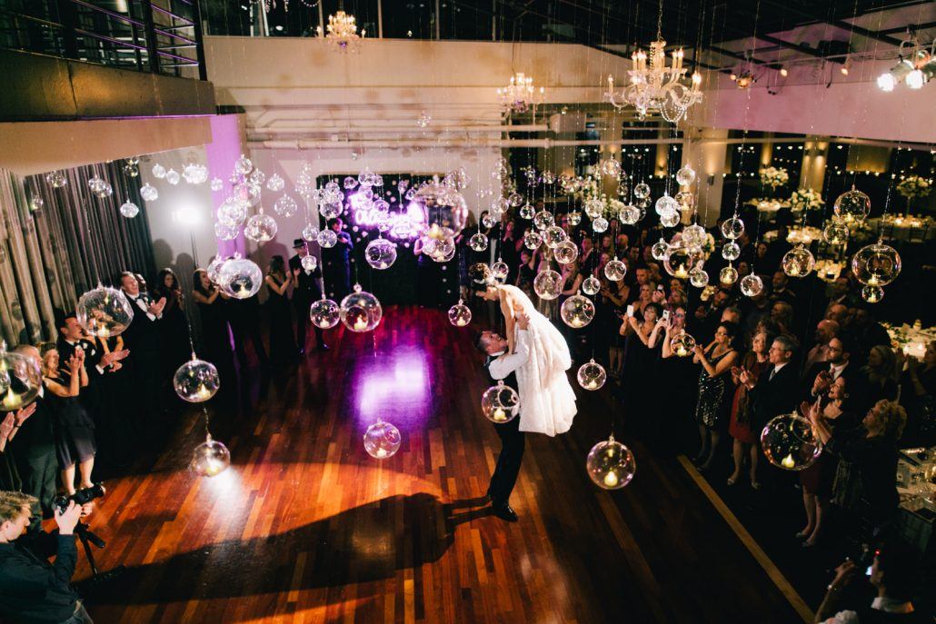 Connie and Alek Wedding - First Dance Hanging Bubble Dance Floor Installation - Tribeca Rooftop - Joseph Lin Photography