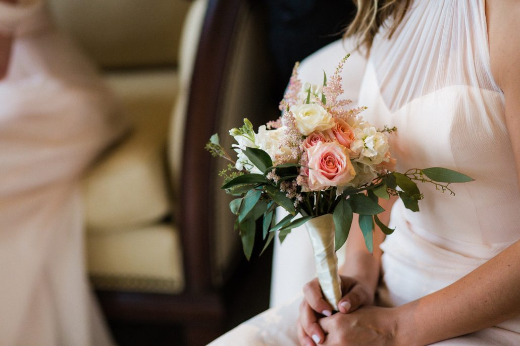 Kate & Mark Wedding - Bridesmaids Bouquet pink blush ivory and greenery - Round Hill Club - Michael Justin Studios